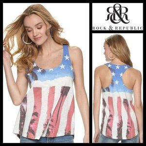 Rock & Republic Americana Racerback Tank Top NWT